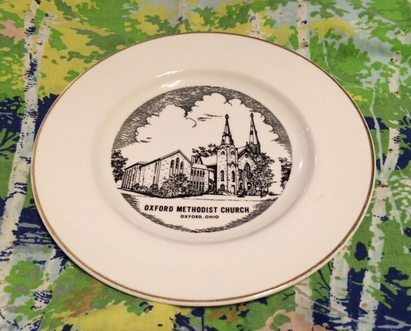 Vintage Oxford Methodist Church Commemorative Plate 1975 W.C. Bunting Co.Pottery