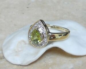 RARE!  ESTATE SOLID 14K NATURAL PEAR GREEN SPHENE & DIAMOND HALO RING *