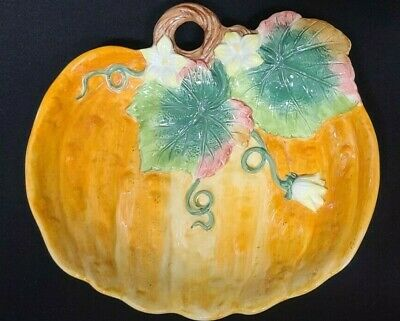 Halloween Ceramic Embossed Pumpkin Candy Bowl Plate Treat Dish Fitz & Floyd Leaf