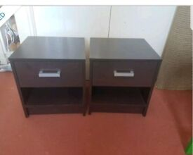2x brown bedside tables