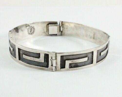 "Vintage Mexico Sterling 925 Greek Key Link 7"" Bracelet 13.8 Grams Free Shipping!"