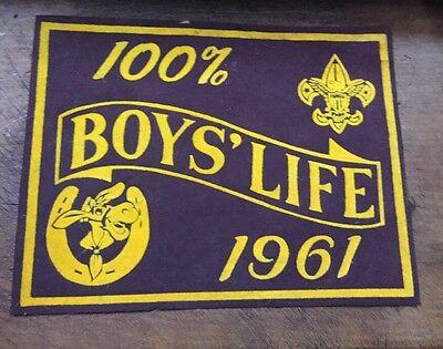 Vintage 1961 Boys' Life Boy Scout Pennant-felt Sign Advertising
