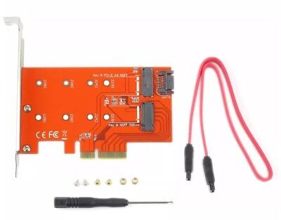 2 Port NGFF M.2 B+M Key SSD to PCI-E PCI Express 4X Lane Adapter Converter Card