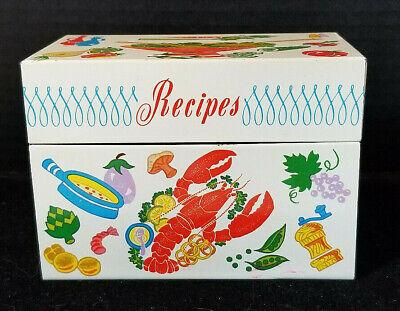 Lobster Pie Recipe - Vintage Ohio Art Metal Recipe Card Box with Lobster Chicken Pie
