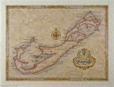 Antique style  BERMUDA MAP - medium size