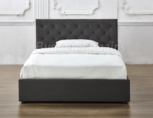 Chester Gas Lift Storage Fabric Bed Frame Double/ Queen/ King New