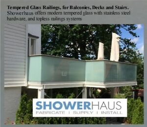 Tempered Glass Railings, Railings for Balconies,Decks a. Stairs.