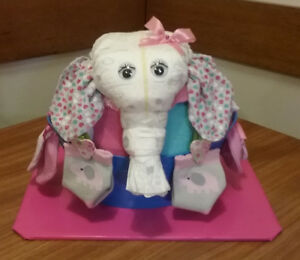 ELEPHANT IN A BASKET BABY GIRL SHOWER GIFT