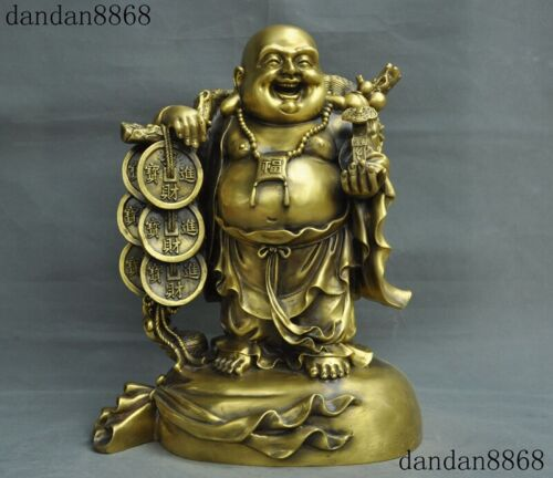 Chinese Buddhism brass coin Money bag wealth Happy laugh Maitreya Buddha Statue