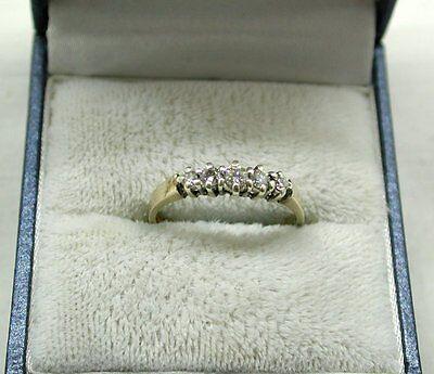 Beautiful 9ct Gold And 0.25ct Diamond Five Stone Ring
