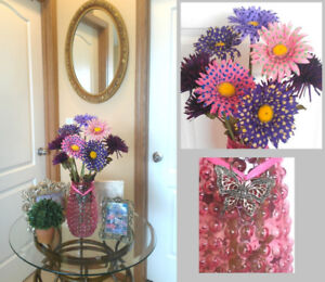 Pink, Purple Polka Dots Cheerful  Arrangement in Hobnail Vase