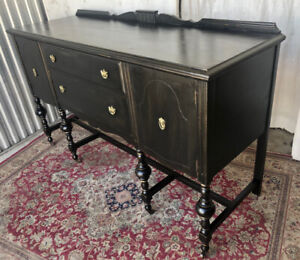 Antique sideboard/buffet, chalk painted, black/gold, distressed