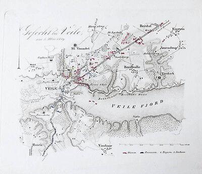 c1850 Vejle Dänemark Schleswig-Holsteinische Erhebung Kupferstich-Plan