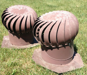 Two Whirlybird roof vent turbines