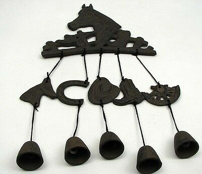 (Horse  Wind chime Cast Iron With Boots, Saddles, Hats Western Decor)