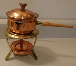 Vintage Copper Brass Butter Warmer Chafing Dish