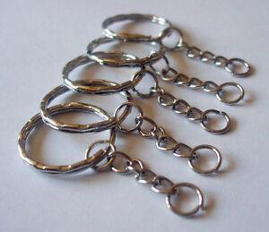 50pcs Keyring Blanks 55mm Silver Tone Key chains Key Split Rings 4 Link Chain