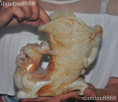 Antique China dynasty palace old jade Carved Phoenix bird Wine Cup goblet statue
