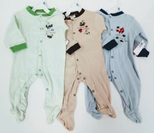 Wholesale Lot 100% Cotton Baby Sleepers- Sz  3, 6,12,18 Mths