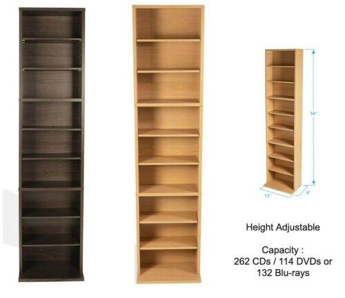 Media Tower Rack Storage 261 CD 114 DVD Shelf Cabinet Organizer Stand Holder