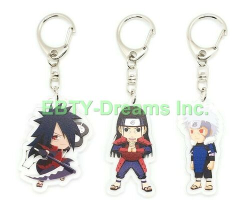 Set of 3 Naruto Anime Acrylic Keychain Uchiha Madara, Hashirama Senju, Tobirama