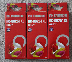 (3) RC-00251XL Grey Ink Cartridges, New in Packages
