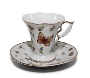 2X VERY BEAUTIFUL FINE PORCELAIN ESPRESSO CUPS & SAUCERS*AVAIL