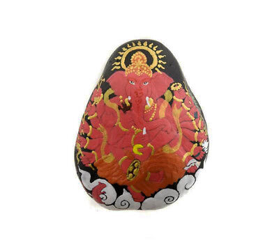 Ganesha Pebble in Stone with Ganesh Hand Painted Elephant Dieu Hindu 6266