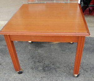 "Table with 4 wheels, 24"" x  24"" x 19.5"" high only $25"