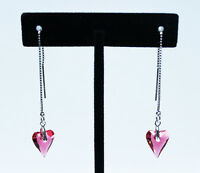 Swarovski Indian Pink Wild Heart Earrings (Hand Made)