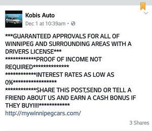 GUARANTEED APPROVALS FOR WINNIPEGGERS