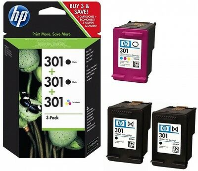 3 Original HP 301 Drucker Patronen Tinte OfficeJet 2620 4630 4632 2622 4634 4636 ()