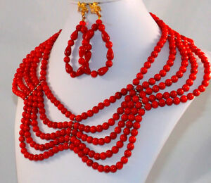 Beaded Jewelry, Coral Necklace, Jewelry Set, Necklace & Earrings