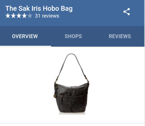 The Sak Iris Black Leather Hobo Bag (brand new with tags)