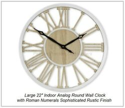 Large 22 inch Indoor Analog Round Wall Clock Roman Numerals Rustic Finish