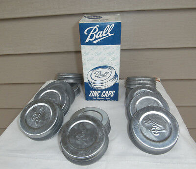 Vintage Ball Zinc Mason Jar Lids Caps Porcelain Lined, Box of 12 - NEW OLD STOCK for sale  Shipping to Canada