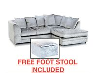 NEW R/H SILVER CRUSHED VELVET CORNER SOFA INCLUDES FREE DELIVERY & FREE MATCHING STOOL FOR £279.99