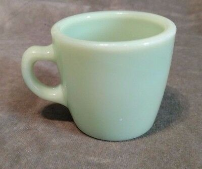 "Vintage FIRE KING JADITE green ""D Handle"" COFFEE Cup Mug Approx 3"" tall~ XLNT"