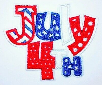 4th of July Patch Embroidered Iron Applique 3.50 X 3.00 Independence Day Fourth
