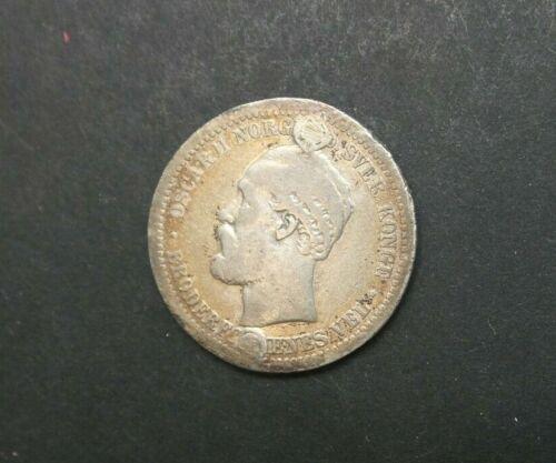 1877 1 Krone Norway  Old Silver Coin, King Oscar II M2403