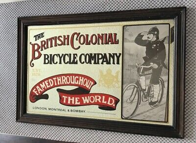 "BRITISH COLONIAL BICYCLE COMPANY FRAMED MIRROR/ VINTAGE MIRRO R 13.5"" × 20"""