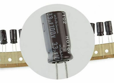 10 Pcs Nichicon 33 Uf 100 Vdc 105c Electrolytic Capacitors - Fast Usa Shipping