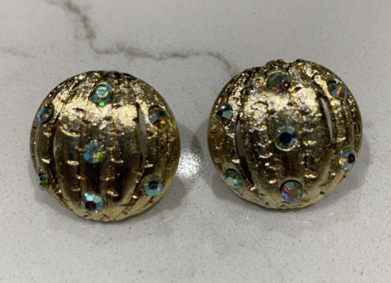 Pair of Vintage Round Iridescent Rhinestone & Gold Clip on Earrings