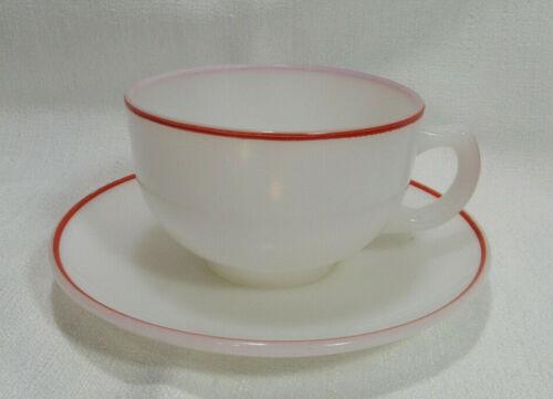 Hazel Atlas PLATONITE WHITE RED TRIM 1 Flat Cup & Saucer Set VGC