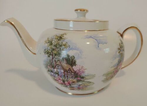 Vintage Sadler Teapot With Gold Trim & Thatched Cottage Countryside Scene #2232