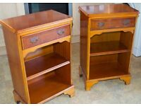 Pair of yew single drawer open fronted units