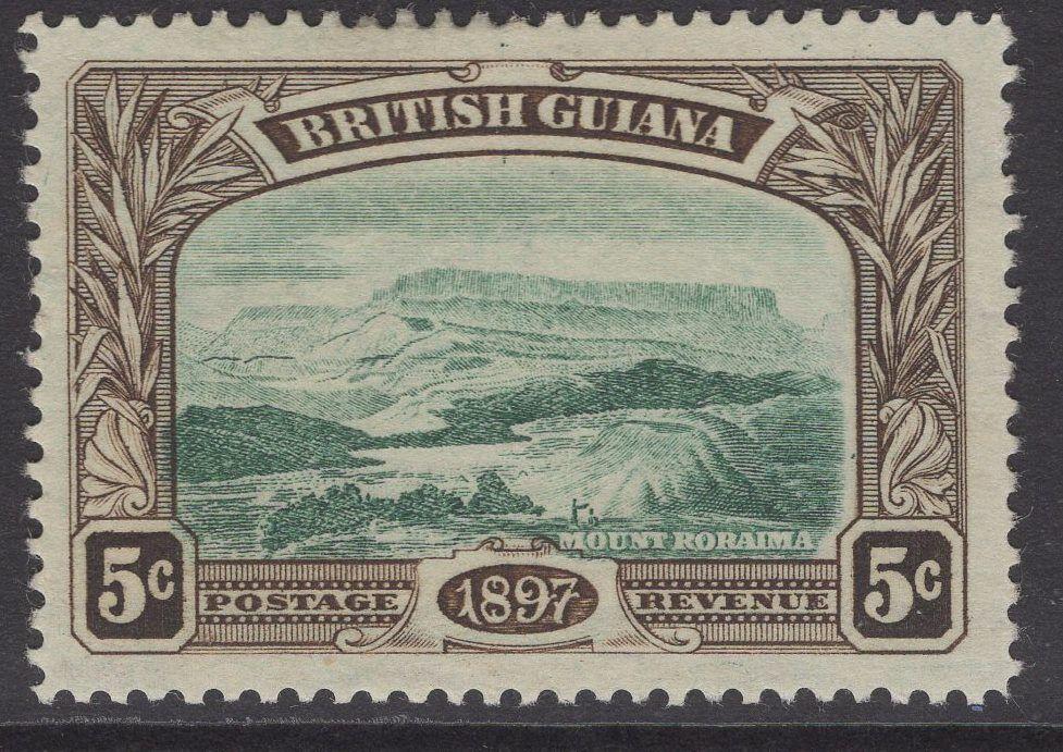 BRITISH GUIANA SG219w 1898 5c DEEP GREEN & SEPIA WMK CROWN TO LEFT CC MTD MINT