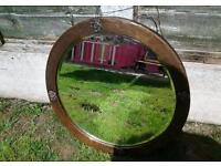 Old arts and crafts copper mirror with English Rose pattern