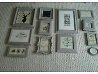 French style shabby chic wall galery of 12 picture frames