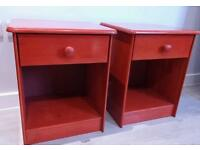 Red bedside tables (pair)